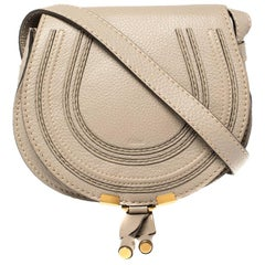 Chloe Taupe Leather Mini Marcie Crossbody Bag