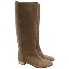 Chloe Taupe Suede Knee Boots - Size EU 38.5
