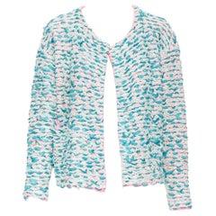 CHLOE teal blue green ribbon wool knit neon pink inner cardigan jacket XS