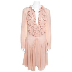 Chloe Tender Pink Silk Ruffle Detail Long Sleeve Dress S