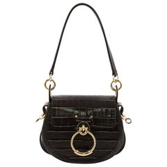 Chloe Tess Bag Crocodile Embossed Leather Small