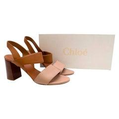 Chloe Two Tone Block Heeled Sandals 37