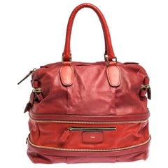 Chloe Two Tone Red Leather Andy Expandable Satchel