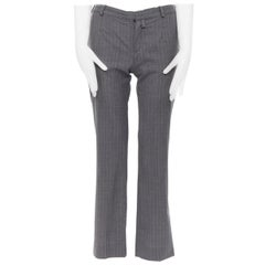 CHLOE Vintage 100% wool grey pinstripe low rise straight leg trousers pants FR34