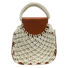Chloe White/Brown Knotted Leather vintage Bracelet Bag