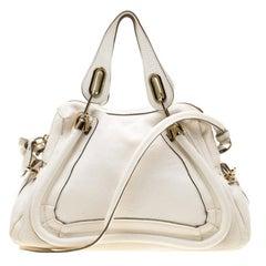Chloe White Leather Medium Paraty Shoulder Bag