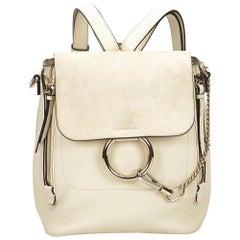 Chloe White Medium Faye Backpack
