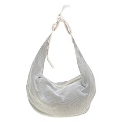 Chloe White Metal and Leather Mesh Hobo