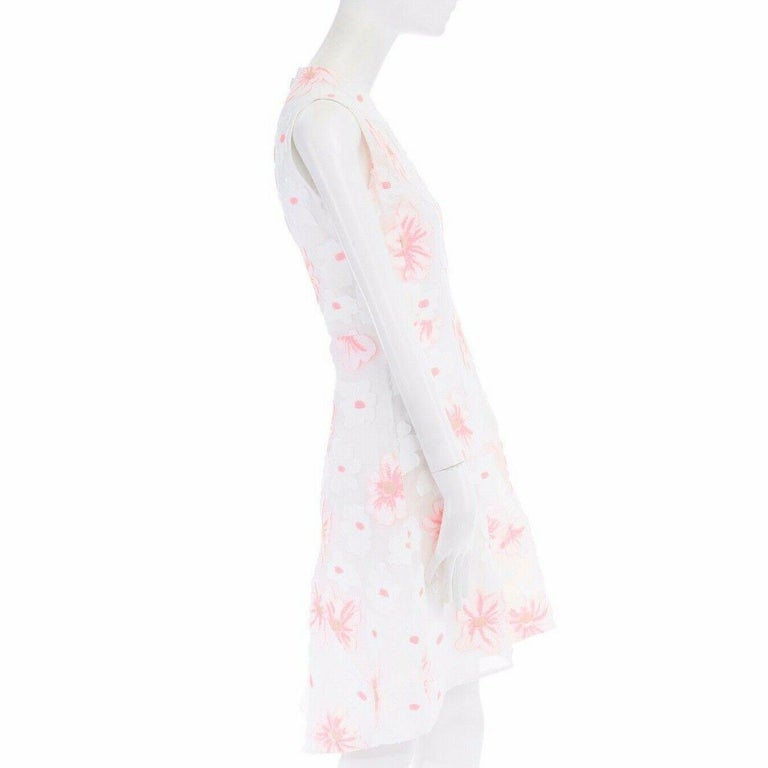 CHLOE white neon pink highlight cotton silk floral jacquard cocktail dress FR38 For Sale 5