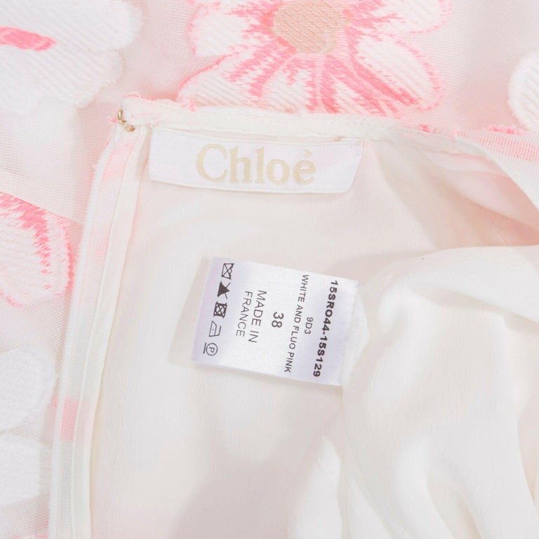 CHLOE white neon pink highlight cotton silk floral jacquard cocktail dress FR38 For Sale 7