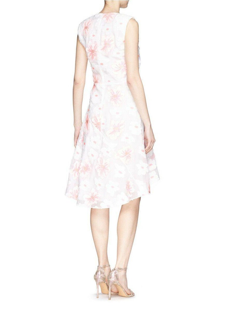 Gray CHLOE white neon pink highlight cotton silk floral jacquard cocktail dress FR38 For Sale