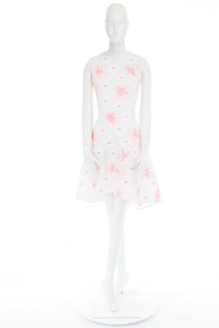 CHLOE white neon pink highlight cotton silk floral jacquard cocktail dress FR38 In Excellent Condition For Sale In Hong Kong, NT