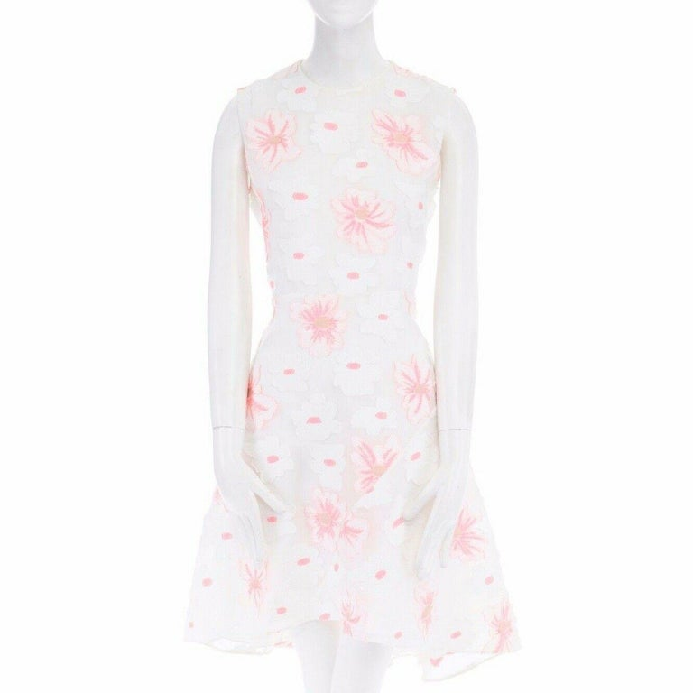 Women's CHLOE white neon pink highlight cotton silk floral jacquard cocktail dress FR38 For Sale