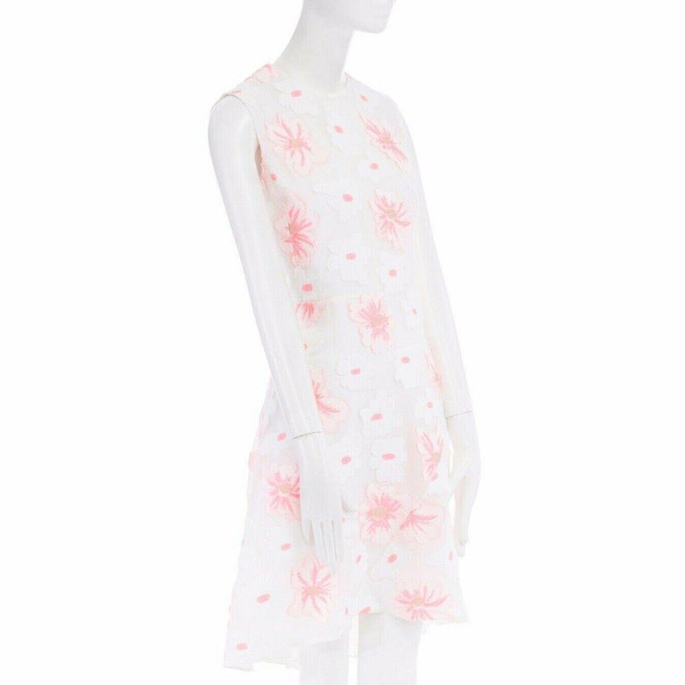 CHLOE white neon pink highlight cotton silk floral jacquard cocktail dress FR38 For Sale 1