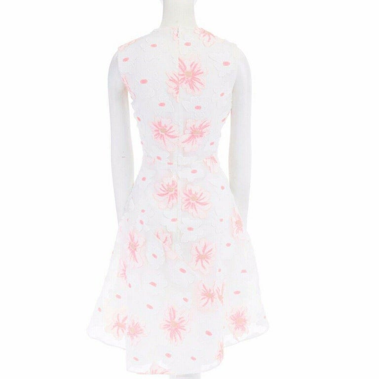 CHLOE white neon pink highlight cotton silk floral jacquard cocktail dress FR38 For Sale 2