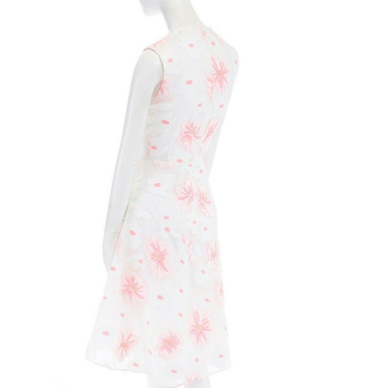 CHLOE white neon pink highlight cotton silk floral jacquard cocktail dress FR38 For Sale 3