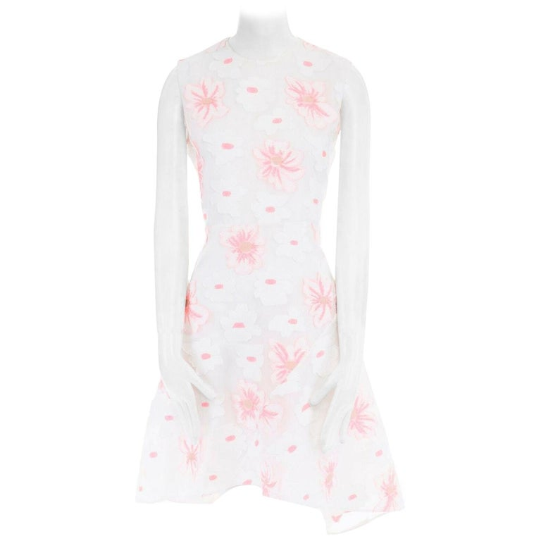 CHLOE white neon pink highlight cotton silk floral jacquard cocktail dress FR38 For Sale