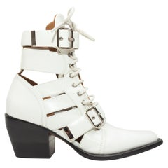 Chloe White 'Rylee' Cutout Leather Ankle Boots