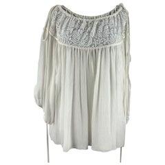 Chloe White Silk Oversized Lace Blouse Size 36 FR