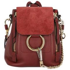 Chloe Women's Backpack Faye Burgundy Leather