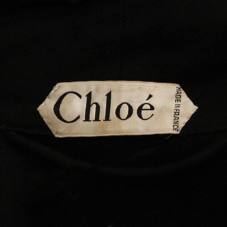 Chloé Wool Twill Cape Circa 1970's In Good Condition For Sale In Los Angeles, CA