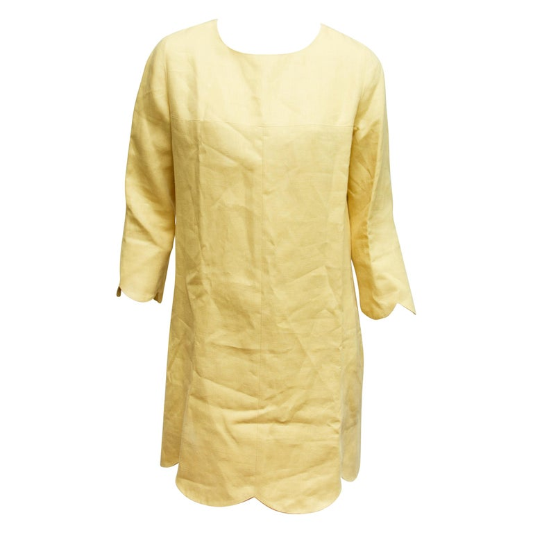 Chloe Yellow Scallop-Trimmed Shift Dress For Sale