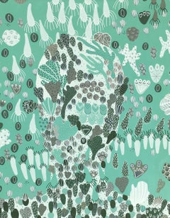 Thalasso 4 - Abstract Figurative Mint Green Painting on Canvas