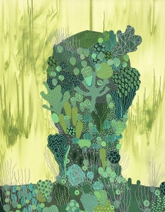 Thalasso 6 - Abstract Figurative Green Painting on Canvas, Marine Biomorphic