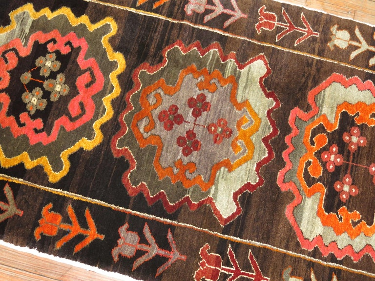 Hand-Woven Chocalate Brown Field Turkish Medallion Runner Dated 1978 For Sale