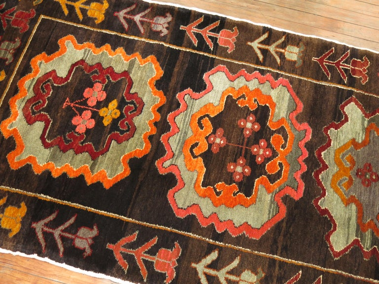 Chocalate Brown Field Turkish Medallion Runner Dated 1978 In Excellent Condition For Sale In New York, NY