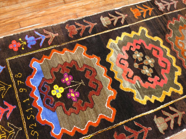Late 20th Century Chocalate Brown Field Turkish Medallion Runner Dated 1978 For Sale