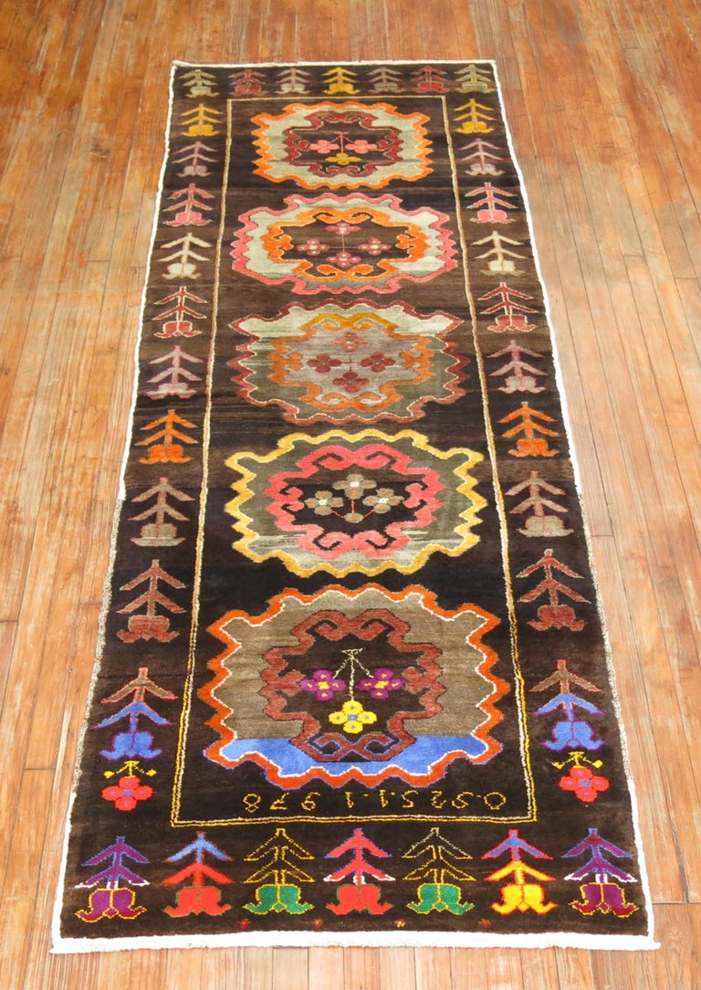 Wool Chocalate Brown Field Turkish Medallion Runner Dated 1978 For Sale