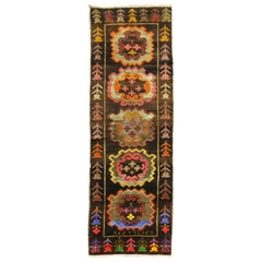 Chocalate Brown Field Turkish Medallion Runner Dated 1978