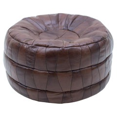 Choco Brown Leather Patchwork Pouf from De Sede, Switzerland, 1960s