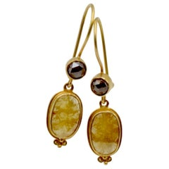 Chocolate and Yellow Diamond 18 Karat Drop Earrings