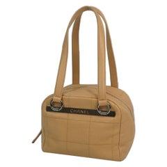 Chocolate bar  Womens  handbag  beige x silver hardware