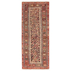 Chocolate Brown Antique Tribal Caucasian Kuba Rug