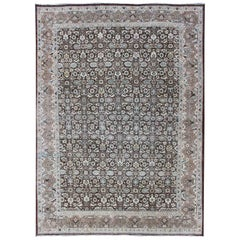 Chocolate Brown Background Antique Persian Tabriz Rug with All-Over Design