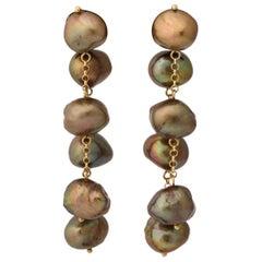 Chocolate Brown Baroque Pearl Dangling Earrings on 18 Karat Yellow Gold Chain