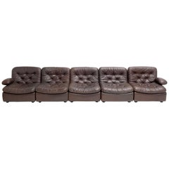 Chocolate Brown Leather 5-Piece Modular Seating System, COR Germany, 1970s