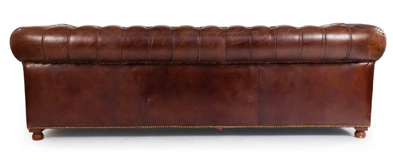 Victorian Chocolate Brown Leather Chesterfield Sofa For Sale