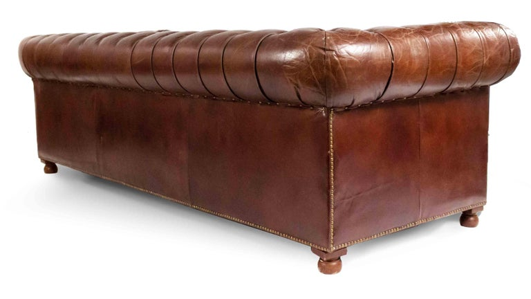 English Chocolate Brown Leather Chesterfield Sofa For Sale