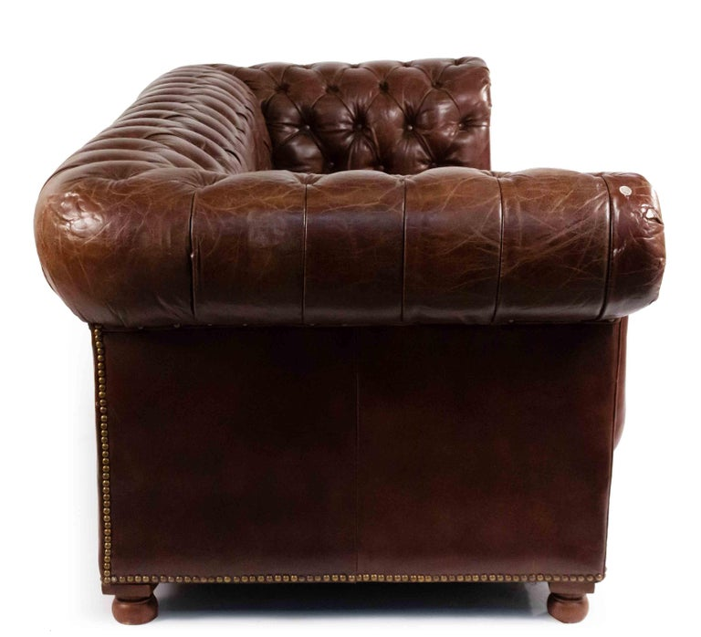 Chocolate Brown Leather Chesterfield Sofa In Good Condition For Sale In New York, NY