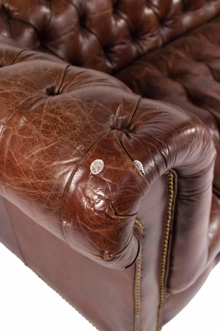 20th Century Chocolate Brown Leather Chesterfield Sofa For Sale
