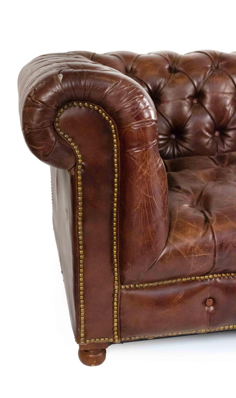 Brass Chocolate Brown Leather Chesterfield Sofa For Sale