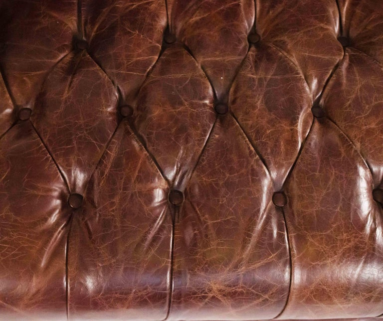Chocolate Brown Leather Chesterfield Sofa For Sale 1