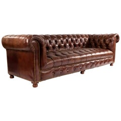 Chocolate Brown Leather Chesterfield Sofa