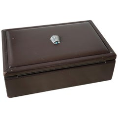 Chocolate Brown Leather Covered Occasional Box by Puiforcat, France, 1970s