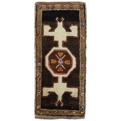 Chocolate Brown Mini Vintage Turkish Mat Rug