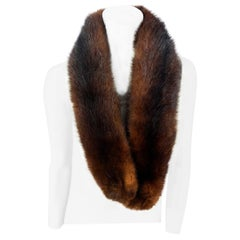 Chocolate Brown Nutria Fur Scarf/ Collar